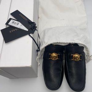 Men's Versace Shoes Black Leathers Driving Meduza